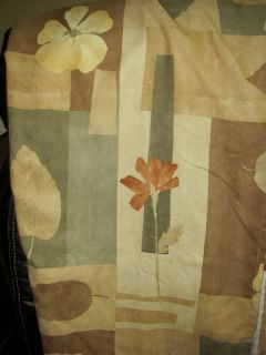 HOME Brown Green Floral Suede like LUXURIOUS Shower Bath Curtain