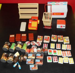 Lot of 50 Barbie Doll House Sized Grocery and Food Items