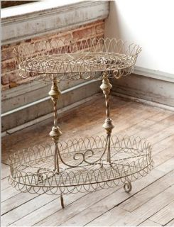 Vintage  French Wire Flea Market Plant Stand Table
