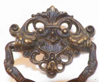 Fleur de Lis & Scroll Cast Brass Drawer Pulls Antique Bureau Wash
