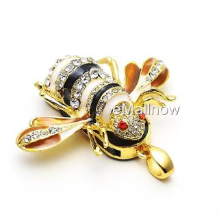 Cute Golden Bee Jewelry USB Flash Memory Drive Necklace Pendant