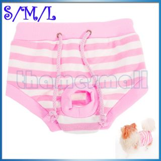 Female Pet Dog Sanitary Pant Panty Striped Pattern Diaper Briefs