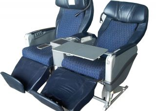 Business Class Airline Airplane Aircraft Seats Reclining Blue Leather