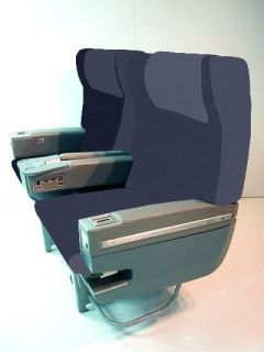 Airline Airplane Aircraft Seats Business Class Reclining Blue Leather