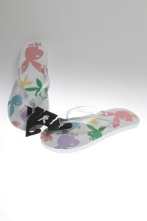 Bunny   Size 5   White Bunny All Over Print Flip Flops Thong Sandals