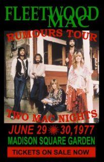 Fleetwood Mac Replica 1977 Rumours Tour Concert Poster