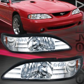 94 95 96 97 98 Ford Mustang Chrome Head Lights Amber Reflector