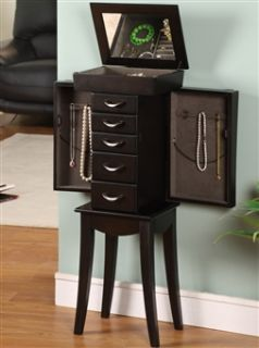 Curved Black Wood Floor Standing Jewelry Box Armoire. Parisian Style 5