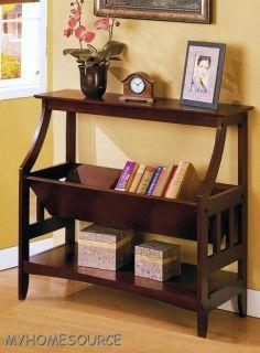 Rustic Walnut Wood Book Shelf Magazine Rack Cookbook