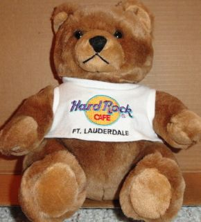 Hard Rock Cafe Fort Lauderdale 1999 Classic Teddy Bear w Neon HRC Logo