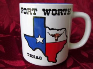Fort Worth Texas State Flag and Longhorn Coffee Tea Mug Awesome