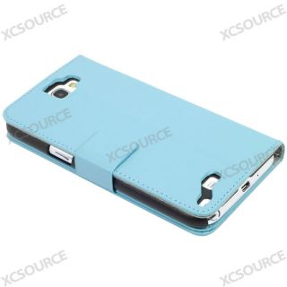 PU Flip Leather Case For Samsung Galaxy Note 2 N7100 N7105 Stand Blue