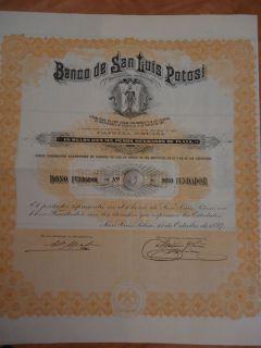 MEXICO BANCO SAN LUIS POTOSI STOCK FUNDADOR BONO 1897 FOUNDER