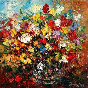FLOWER BOUQUET VASE GARDEN Palette Knife ORIGINAL ART Oil Painting