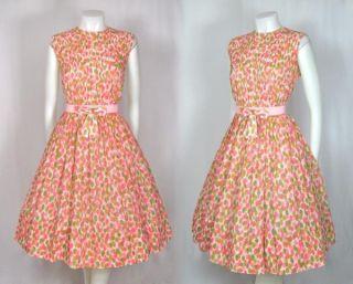 Vtg 1950s Pink Floral Cotton Summer Dress Pintuck Bodice w Bow Belt