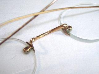 Pairs Antique Vintage Gold Tone Metal Steel Rim Eye Glasses