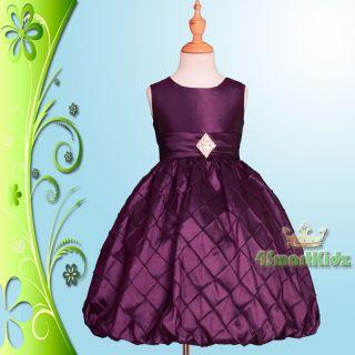 Purple Formal Diamante Dress Wedding Flower Girl Flowergirl Party Size