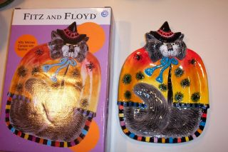 FITZ & FLOYD KITTY WITCHES CANAPE WITH SPIDERS ~ MATCHES KITTY WITCH