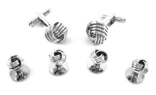 Silver Formal Classic Love Knot Cufflinks and Stud Set