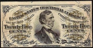 EF AU 25 CENT FRACTIONAL CURRENCY FESSENDEN NOTE 1864 1869 PAPER MONEY