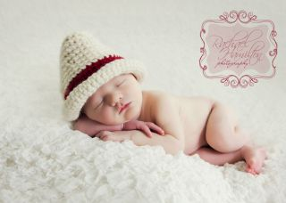 Fedora Hat Photography Prop Newborn Baby Boy Cream Chili Red Band Hand