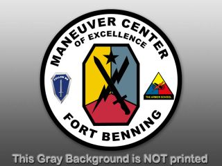 Round Fort Benning Seal Sticker Decal Army Military US