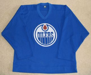 80s Edmonton Oilers Blue NIKE Game Worn/Used Practice Jersey