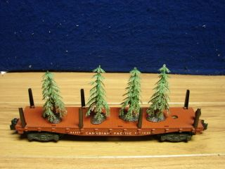 AMERICAN FLYER S 24558 CANADIAN PACIFIC FLAT CAR W CHRISTMAS TREE LOAD