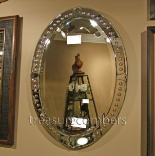 Frameless Oval Beveled Venetian Wall Mirror Bathroom