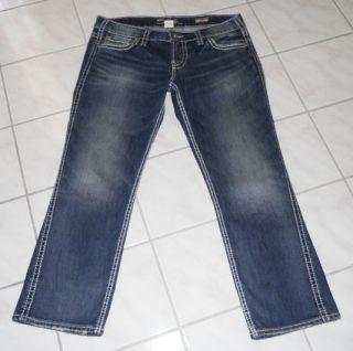 Womens Silver Frances Capri Stretch Jeans 31 White Stitching
