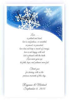 100 Personalized Custom Blue Snowflake Bridal Wedding Scrolls Favors
