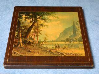Vintage Murray Wooden Folding Bridge Table Fire Screen w/ Mountain