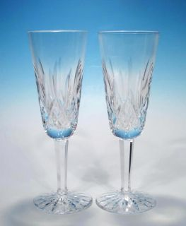Ireland Pair Lismore Cut Crystal Champagne Flutes Glasses Minty