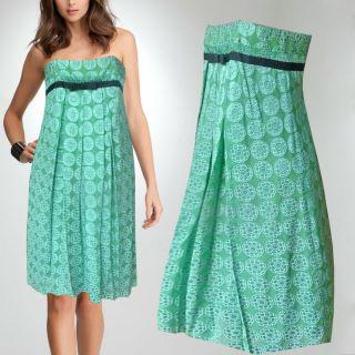 Gorgeous Foley + Corinne Strapless cocktail dress green/blue silk. Sz