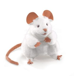 Folkmanis Puppets White Pet Mouse Plush Hand Puppet New