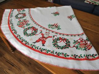 Vintage Christmas Tablecloth Round Santa