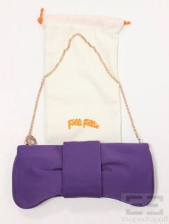 Folli Follie Purple Nylon Bow Clutch with Chain Strap New