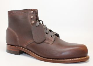 Wolverine Mens 1000 Mile Brown Distressed Lace Up Leather Ankle Boot