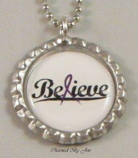 New Fibromyalgia Awareness Believe Purple Ribbon Bottle Cap Necklace