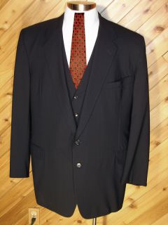 Tom James Filo A Mano Custom Mens Deep Navy PS 3 PC Wool Suit 48L