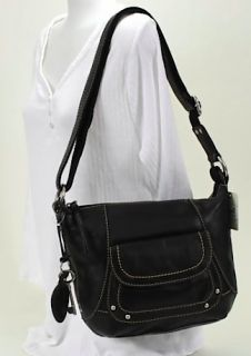 Fossil Montreal Black Leather Large Cross Body Purse