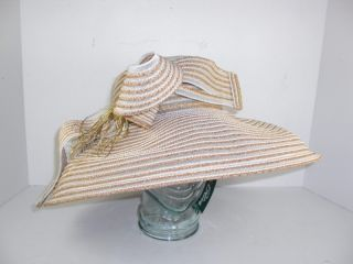 Frank Olive Semi Sheer Gold White Dress Church Large Hat Authentic