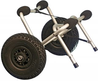 The Kayak/Canoe Cart is equipped with foam Tuff Tire wheels. They