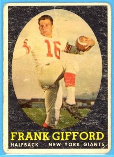 1958 Topps Frank Gifford Card 73 New York Giants