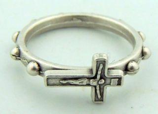 Medium Silver Crucifix Cross Finger Rosary Ring Catholic 1 Decade Rare