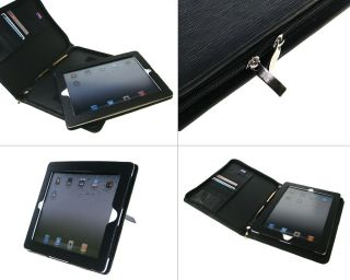 Apple iPad 2 3 Black Synthetic Leather Zipper Folder Case Cover