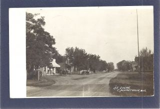 RPPC Calumetville Fond Du Lac County WI dirt road like main street car