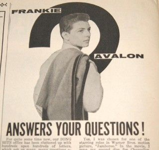 Vintage Song Hits Magazine November 1958 Frankie Avalon