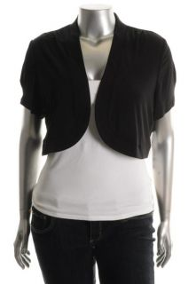 Madison Leigh ITY Bolero Black Short Sleeve Open Front Balero Shrug