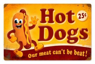 Hot Dogs Food and Drink Vintage Metal Sign
